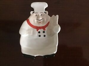 Fat Chef with Red Scarf French Bread Italian Bistro Kitchen Spoon Rest Dish
