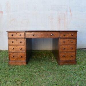 Antique English Oak Partners Desk, Highest Quality, Purchased Christie's London