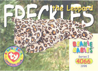 TY Beanie Babies BBOC Card - Series 1 Common - FRECKLES the Leopard - NM/Mint