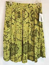 Lularoe Madison Green Paisley  Pleated Skirt  side Pockets Size Large