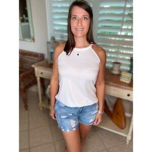 Distressed Denim Vintage Faded Jean Shorts Pockets Cuff Zip Up Blue S/M/L