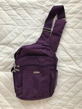 Small Baggallini Backpack Plum Purple with Lime Green Lining