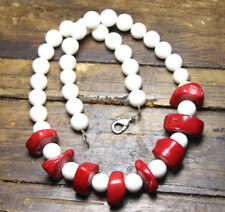"""Red Coral Cross Cut Flat 18mm Gemstone and White Coral 10mm Ball Necklace 18"""""""