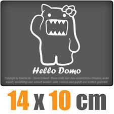 Hello Domo 14 x 10 cm JDM Decal Sticker Auto Car Weiß Scheibenaufkleber