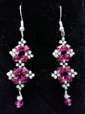 Beautiful Bright Pink and Lime Green Beaded Glass Silver Woven Dangling Earrings