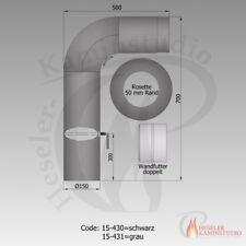 Rauchrohr-Set gezogen Ø150 schwarz komplett // Rohrset Ofenrohr europäische Ware