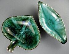 Blue Mountain Pottery Bowl x2 Spade Banana Leaf Dish BMP Canada 1960s Drip Glaze