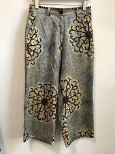 Dries Van Noten Womens Silk Printed Trousers Pants Enthic Floral Pattern Sz 36