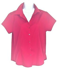 Talbots top blouse10 button front short sleeve stretch wrinkle resistant red