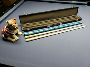 Pool Snooker Ribbed Cue Case Set 2 Shafts 9 Ball 8 Ball Break Cue