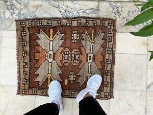 "Handmade Vintage Anatolian Turkish Small Tribal Carpet Bath Mat 32""x25"""