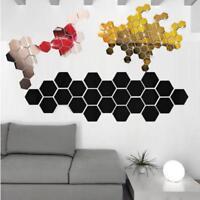 12PCS 3D Mirror Hexagon Removable Wall Sticker Home Art DIY Wall Stickers Decal