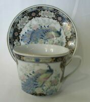 Vintage Exquisite Peacock and Gilt Intricate Tea Cup and Saucer Japan