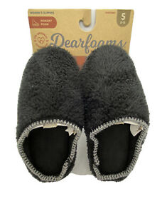 dearfoams slippers womens Small 5-6 NWT Black Slip Ons Gift Winter Comfy Sharp!