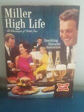 (Vtg) 1960s Miller high life beer 3-D cardboard bottle sign people & food rare