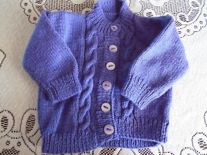 """New Hand Knitted Lavender Cardigan 20"""" chest (aprox 1 year)"""