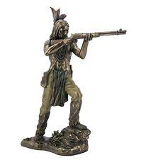 "10.5"" Indian Warrior Shooting Rifle Native American Statue Decor Figure Figurine"