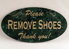"""Remove Shoes"" Door Sign (similar to no soliciting) - Engraved - Choose Color"
