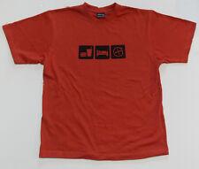 """Eat Sleep Geocache""  T-shirt  Brown with black print"