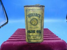 Ultra Rare Antique Monarch 1/2 Pint Olive Oil Tin Can, Reid Murdoch& Co. Chicago