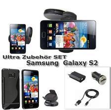 Samsung Galaxy S2 i9100 Auto Halter 3in1 Ladekabel SET Silikon Case Tasche Black