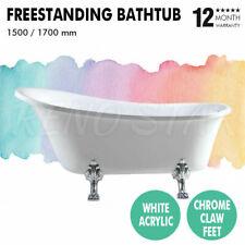 1500/1700mm Freestanding Bath Gloss White Acrylic Chrome Claw Feet for Bathroom
