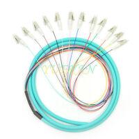 1.5 Meters LC OM3 12coreS Fiber Optic Pigtail Multimode 50/125