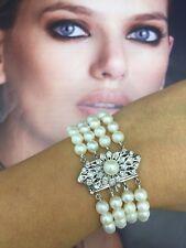 "Vintage Pearl and Diamond Bracelet, 7"" Long."