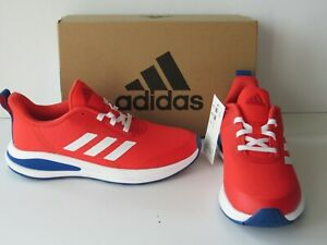 adidas FortaRun Youth Boys size 3 Red 3-Stripes ORTHOLITE Running Shoes NEW