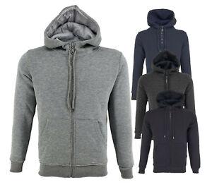 Mens Zip Up Hoodie Plain Hoody Fleece Pullover Zipper Sweatshirt Top Warm Hooded