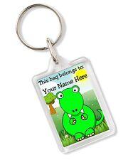 Personalised Dinosaur T Rex Kids Childs School Bag Tag Keyring Any Name AK314