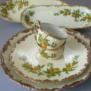 6 Pcs Antique LIMOGES Porcelain Florida ORANGES w Lush GILT * Cups CHARGER Bowls