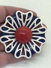 Flower Red White Blue Vintage Pin Brooch D-3956
