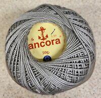Crochet Cotton Thread-50g Coats Ancora-Yarn-Grey-252-PT 6-Portuguese-Knitting-
