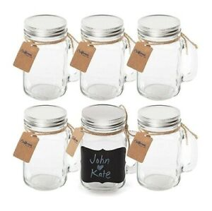 Vintage MASON JAR MUGS with CHALKBOARD LABELS Weddings PARTY Favors Parties GIFT