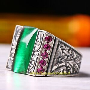 Turkish 925 Sterling Silver Emerald and Small Ruby Red Stone Mens Ring Usa