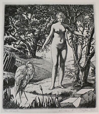 Old Art Print Nude Lady - The Brook Line-Engraving by W. E. Morgan Beaux Gallery