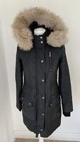 Gorgeous Mint Velvet Black Removable Fur Trim Parka Coat UK 8