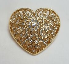 Napier Brooch - Heart - Gold White Stone Brooch Pin
