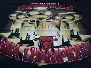 VTG 90s THE DYNASTY CHICAGO BULLS 1997 NBA Champions Champs T Shirt BLK X-Large