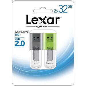 Lexar JumpDrive S50 32GB USB 2.0 (2 Pack)