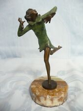 "ANTIQUE LORENZL ART DECO BRONZE WOMAN ON ONYX BASE, SIGNED, 6-1/4"" TALL"