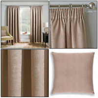 "Latte Beige Thermal Matrix Blockout Lined 3"" Tape Top Pencil Pleat Curtains Pair"