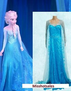 Elsa Adult Frozen Costume Disney Fancy Dress Blue Sexy Wig Cosplay Gown UK S M L