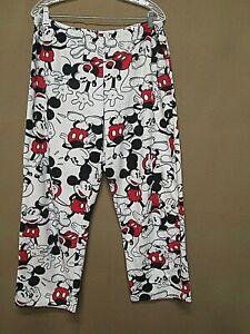 Disney Mickey Mouse Women's White Fleece Pajama Lounge Pants XL