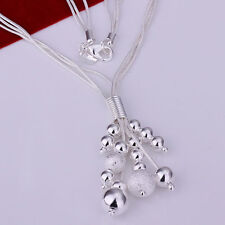 925 Silver Triple Line Bean/Ball Style Snake Necklace & Pendant/Bracelet 15 inch