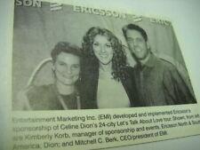 Celine Dion w/ Kimberly Korb and Mitchell Berk 1999 music biz promo pic with txt
