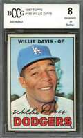 Willie Davis Card 1967 Topps #160 Los Angeles Dodgers BGS BCCG 8