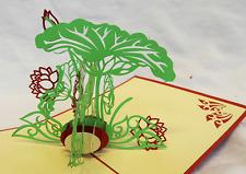 Hand Made Pop Up 3D Greetings Card - Oriental Flora Design .......... NEW (F)