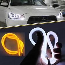 2x60cm DC 12V DRL LED Strip White Amber Tube Switchback Headlight For Audi Style